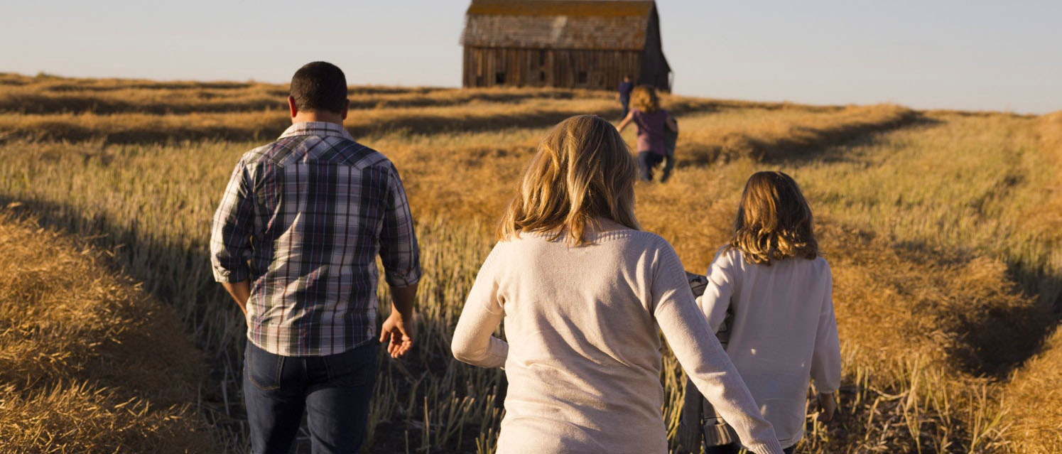 A family walks in a field toward a barn